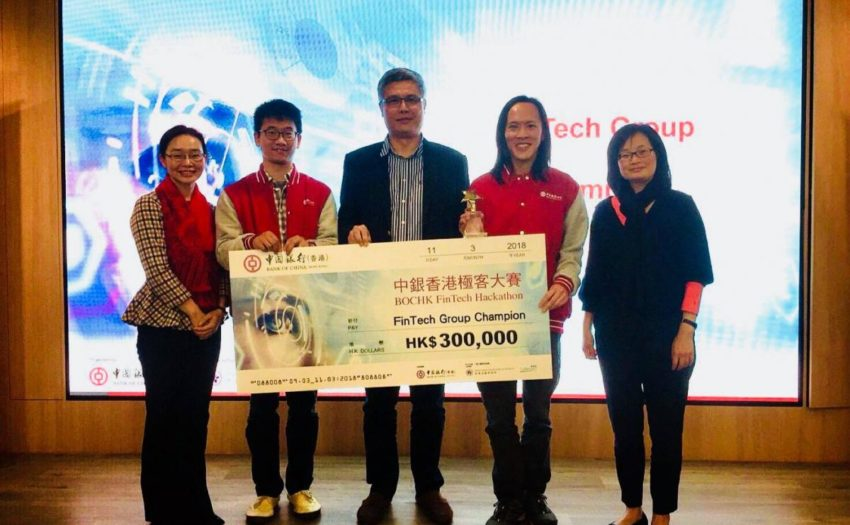 Dr. Gabriel Fung and Dr. Keith Wong, both from SEEM, won the championship (FinTech Group, HKD$300,000) of the BOCHK FinTech Hackathon