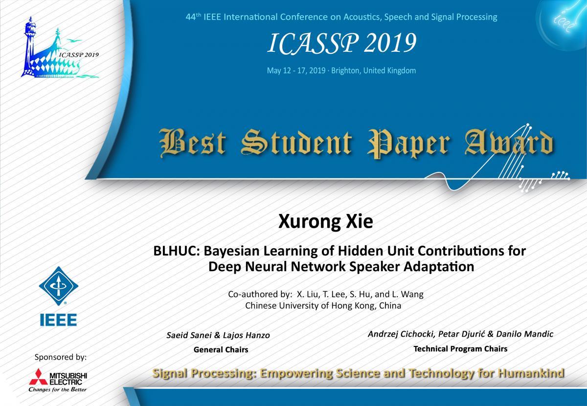 IEEE ICASSP 2019 Best Student Paper Award