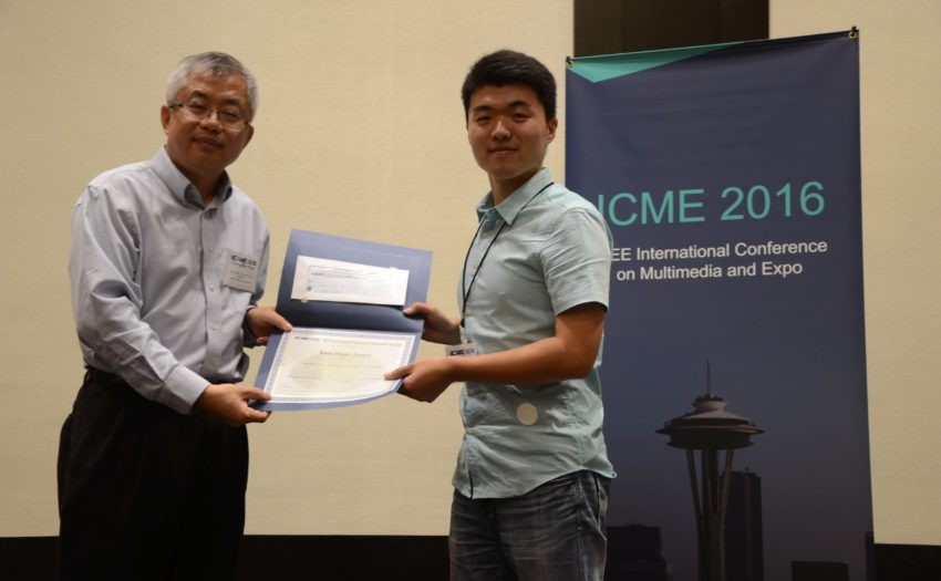 Mr. Lifa Sun (PhD candidate, Supervisor: Prof. Helen Meng) has received the Best Paper Award from the 2016 IEEE International Conference on Multimedia and Expo (ICME2016), Seattle, USA, July 11-15, 2016
