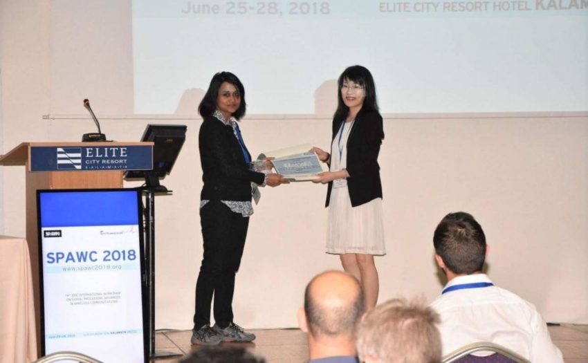 Ms Sherry Ni receives the Best Student Paper Award at the 19th IEEE International Workshop on Signal Processing Advances in Wireless Communications (SPAWC 2018)