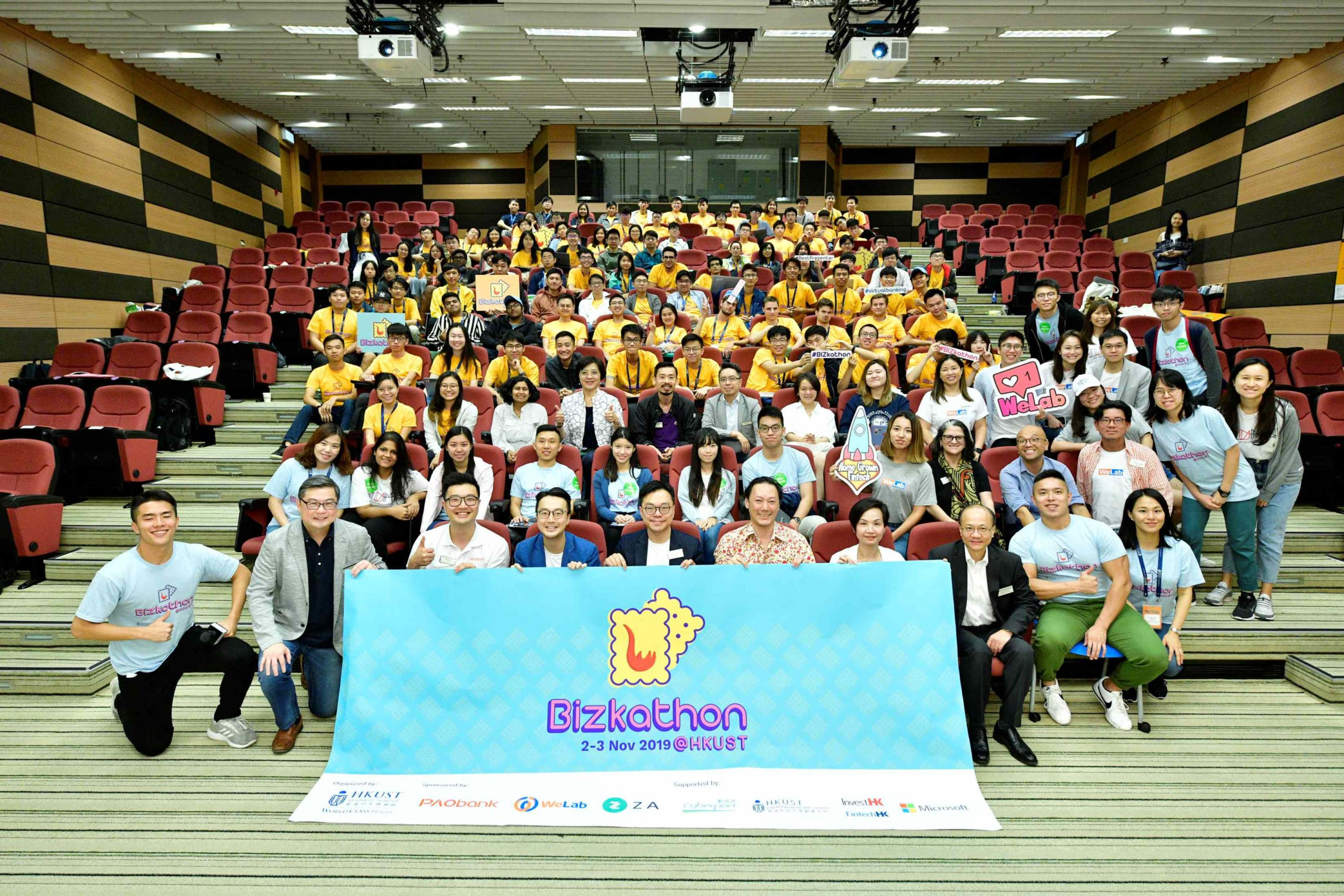 """THE TEAM """"IMPETUS"""" CONSISTS OF 5 BENG FINTECH YEAR 1 STUDENTS WON THE 2nd RUNNER-UP AWARD IN THE BIZKATHON@HKUST ON NOV 2-3, 2019"""
